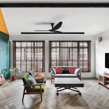 thiết kế nội thất phòng khách chung cư vintage và retro
