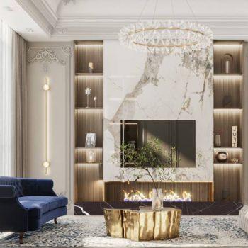 thiết kế nội thất phòng khách chung cư tân cổ điển