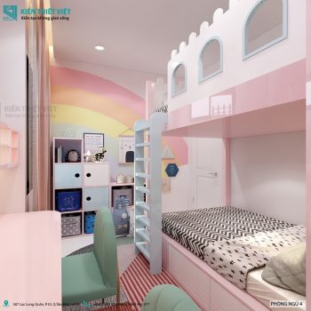 thiết kế nội thất phòng ngủ giường tầng cho bé gái